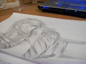 Photo: Kid Beyond sketch by portrait artist Laura Tomlinson