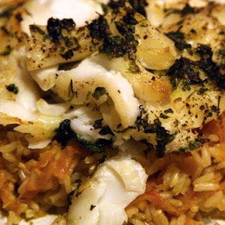Grilled Cod and Carrot Pilaf