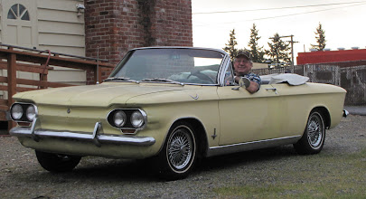 Photo: Big grin means that this Corvair runs and drives!!  Just got back from a drive around the neighborhood.  Discovered quick steering has been added!!