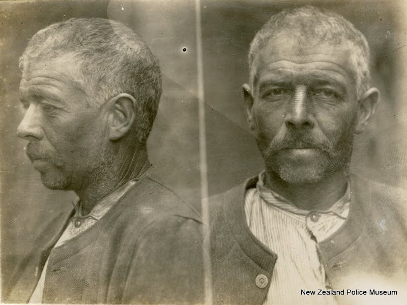 Photo: Edmund George (b. 1864, New Zealand). Charged with a breach of the prohibition order and sentenced to a fine or 3 months in gaol on 7 August 1907 (Auckland). A labourer by trade, he had previous convictions for indecent acts, 12 previous convictions for drunkenness and 4 for breach of prohibition order. Photograph taken on 11 November 1907.