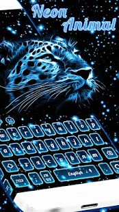 Neon ice Tiger Keyboard Theme - náhled