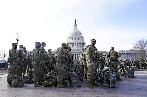 Military might: National Guard troops outside the US Capitol on January 16. Picture: Getty Images/Eric Thayer
