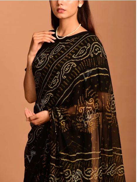 Vasansi Black Georgette Bandhani Saree
