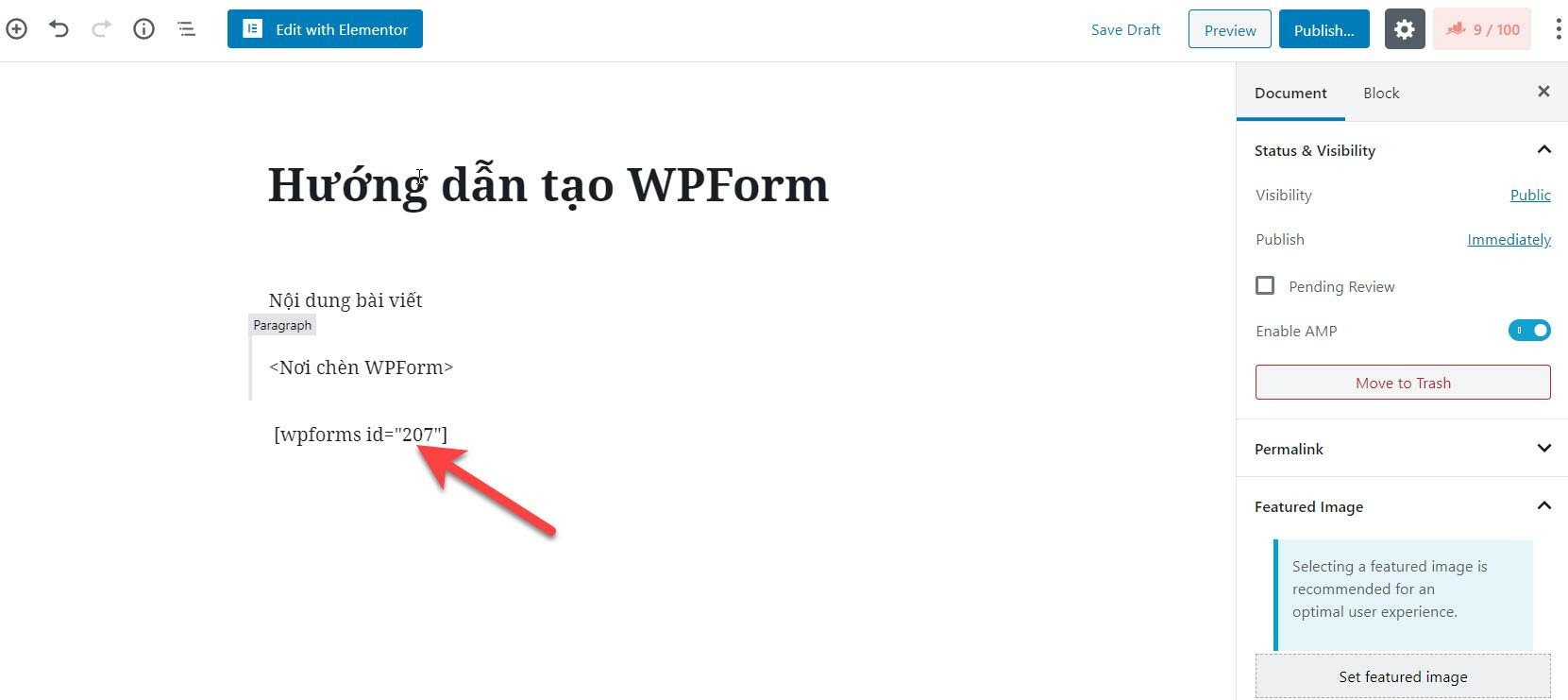 Chen WPForm vao bai viet tren WP