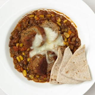 Corn and Turkey Meatball Lentil Soup with Whole-Wheat Pita Chips