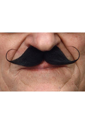 Mustasch Poirot, svart
