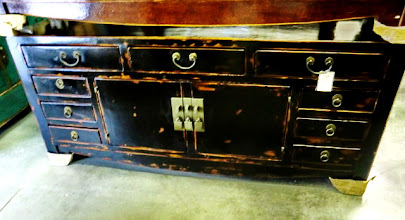 "Photo: F 003  Chinese Black Lacquer Cabinet  67""W x 16.5""D x 29.5""H Sale Price $1,000"