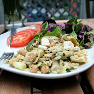 Minted Orzo Salad with Artichokes and Chickpeas