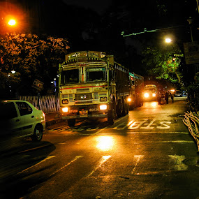 No time at night  by Hrijul Dey - City,  Street & Park  Street Scenes ( cars, kolkata, streets, truck, night scene, street photography, night photography )