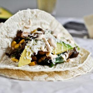 Grilled Corn, Mushroom + Roasted Poblano Tacos Recipe