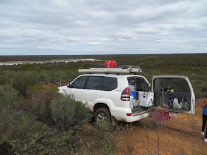 Photo: Lunch @ a look out over one of the salt lakes south of Bremer Range