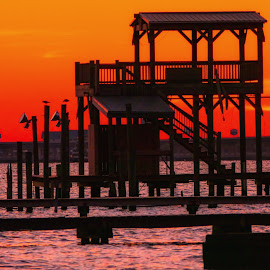 Pier and sunset on Ocean springs,MS. Beach by Dave Walters - Buildings & Architecture Architectural Detail ( colors of nature, ms. beach, ocean springs, sunsets, lumix fz2500, architecture )