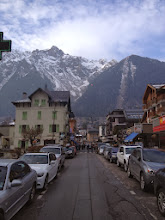 Photo: Chamonix street. (Paraglider in background center)