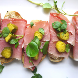 Prosciutto, Mustard and Pickle Tartine.
