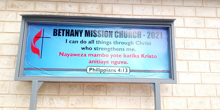 Sign board for Bethany Mission Church in Kwale.