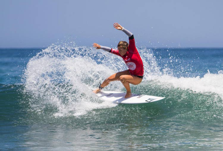 A surfer competes in the Cabo Surfing Championship at La Roca.