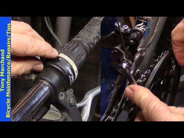 Cleaning a mountain bike grip shifter that's stuck.