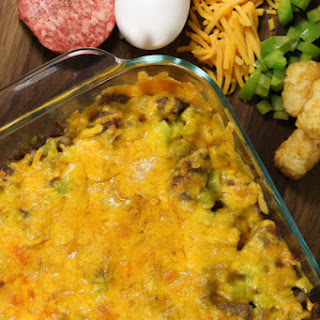Tater Tot, Sausage, and Egg Breakfast Casserole.