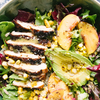 Peachy Maple Chicken And Roasted Corn Rice Salad.