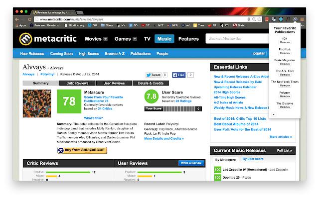 MyMeta - Customized Metacritic averages.