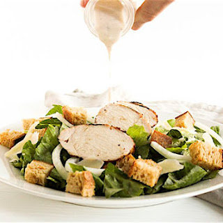 Chicken Caesar Salad With Homemade Creamy Caesar Dressing.