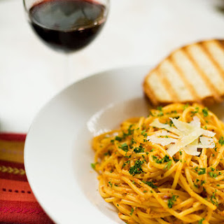 Pasta In Creamy Tomato Sauce With Pumpkin Seeds.