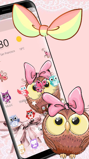 Cute Cartoon Owl Bowknot Theme 1.1.2 screenshots 1