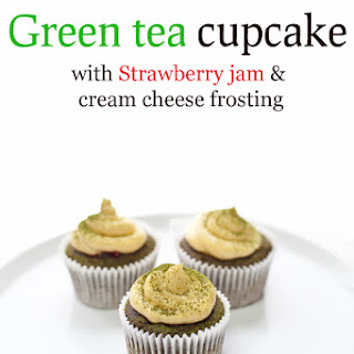 Green Tea Cupcake With Strawberry Jam And Cream Cheese Frosting