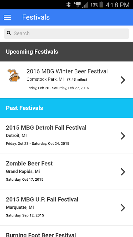 BeerFestList- screenshot