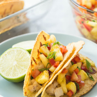 Baked Hawaiian Chicken Tacos with Pineapple Salsa.