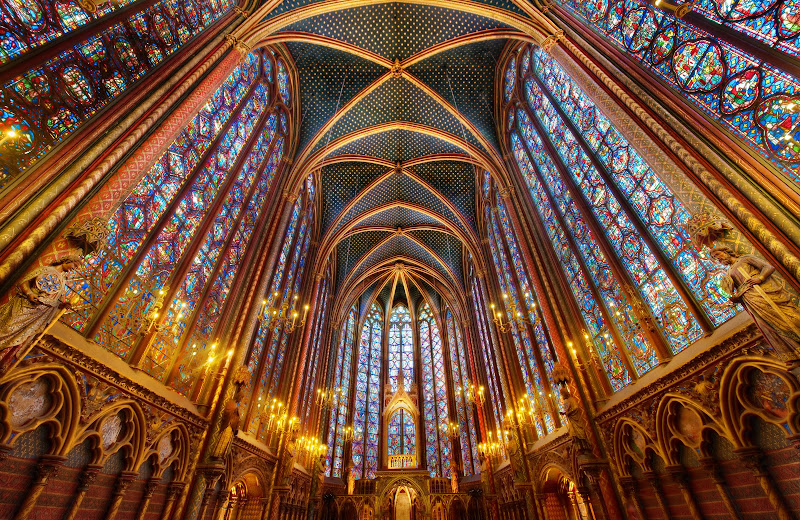 Photo: Into the Beyond  La Sainte-Chapelle is really an amazing place. I can't believe it took me so many trips to Paris to finally see it. It wasn't exactly a blind-spot, but I knew it was some place that I had to visit at some point, and I finally got there.  Tripods were forbidden, so I decided to use a tripod to get a shot.  I did manage to squeeze off several rounds until security came up to make me stop. Of course, the only reason I ignore their rule is because I think it is does not have a solid foundation in logic or rational thought. I wasn't bothering anyone. I wasn't going to trip anyone because of the configuration of my tripod and body. Everything was cool.  #SICInDatabase