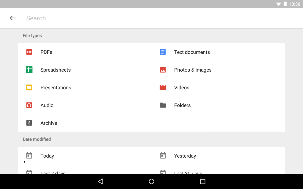 Screenshots of Google Drive for iPhone