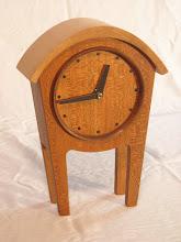 "Photo: cherry, walnut & maple clock -- 9"" t."