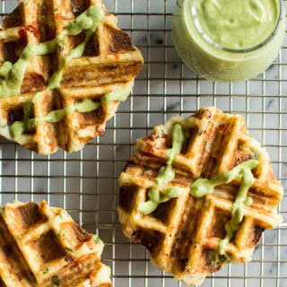 Mashed Potato Waffles and Creamy Avocado Basil Sauce