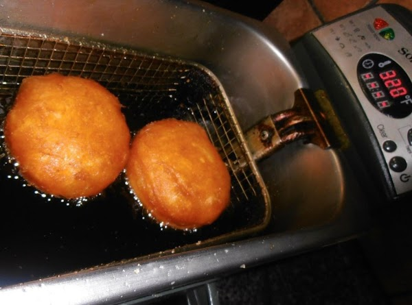 deep fry biscuits at 320 degrees for 6-7 minutes flipping for even browning