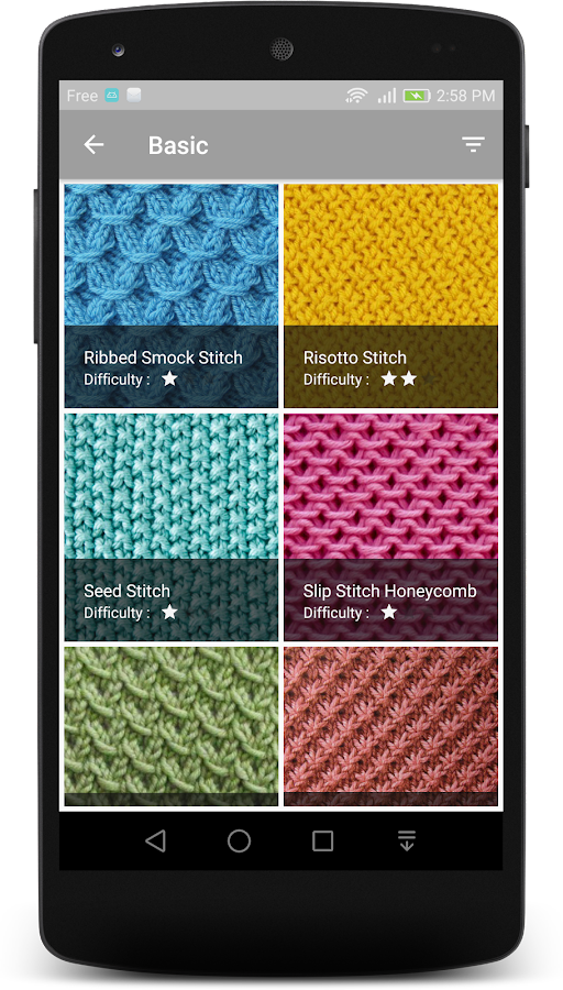 Knitting Stitches- screenshot
