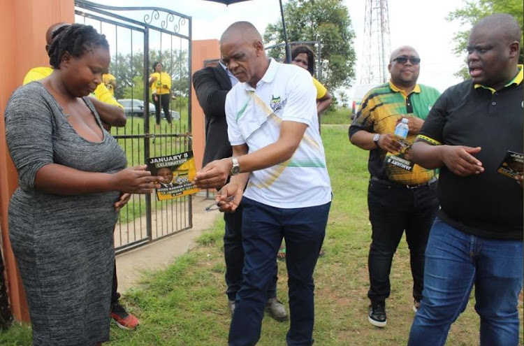 ANC secretary-general Ace Magashule during a door-to-door campaign in Mlalazi, near Eshowe in KZN, in January. Magashule conducted a similar visit to townships in the Vaal on Wednesday.