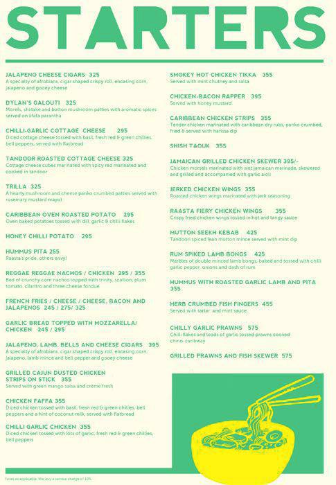 Raasta menu 1