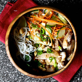 Cold Rice Noodles with Peanut-Lime Chicken.