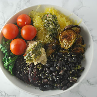Vegan Roasted Winter Vegetable Bowl with Chimichurri.