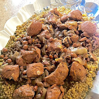 Pearl Couscous with Chicken, Onions, & Garbanzo Beans (Maftool).
