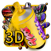 3D Street Graffiti Color launcher theme