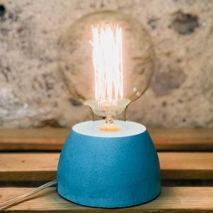 lampe béton couleur turquoise forme de dôme design création fait-main en atelier français