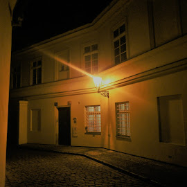 Small Town by Luboš Zámiš - City,  Street & Park  Night