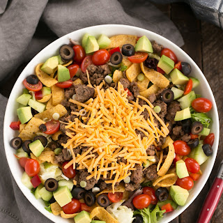 Beef Taco Salad with Salsa Dressing.