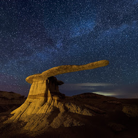 King of the Wings by Jeff Fahrenbruch - Landscapes Starscapes ( stars, rock, night, milky way, new mexico )