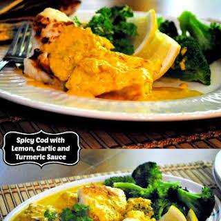 Spicy Cod with Lemon, Garlic and Turmeric Sauce.