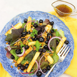 Grilled Halloumi Salad with Pickled Blueberries and Pistachios Recipe