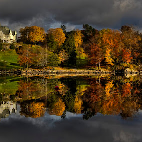 Reflections by Rune Askeland - Landscapes Waterscapes ( bergen, fall, reflections, lake, gamlehaugen, norway )