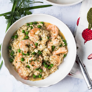 Spring Risotto with Shrimp, Chèvre and English Peas.